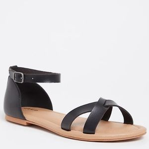 Torrid BLACK FAUX LEATHER CRISSCROSS SANDAL (WW)